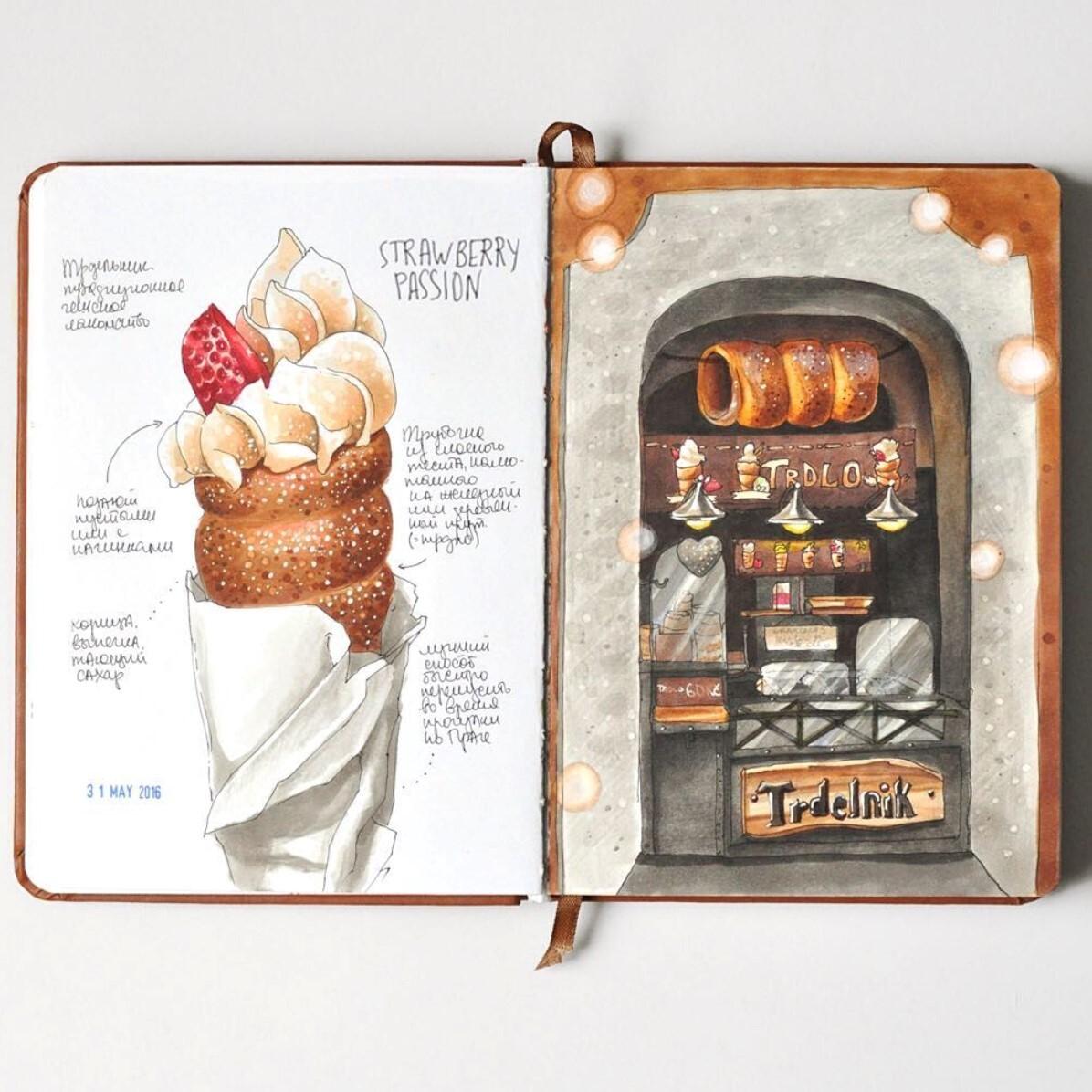 <p> Сахарный трдельник и фрагмент чешского уличного кафе. Разворот из моего&nbsp;пражского тревелбука, посвященный национальной кухне. </p>