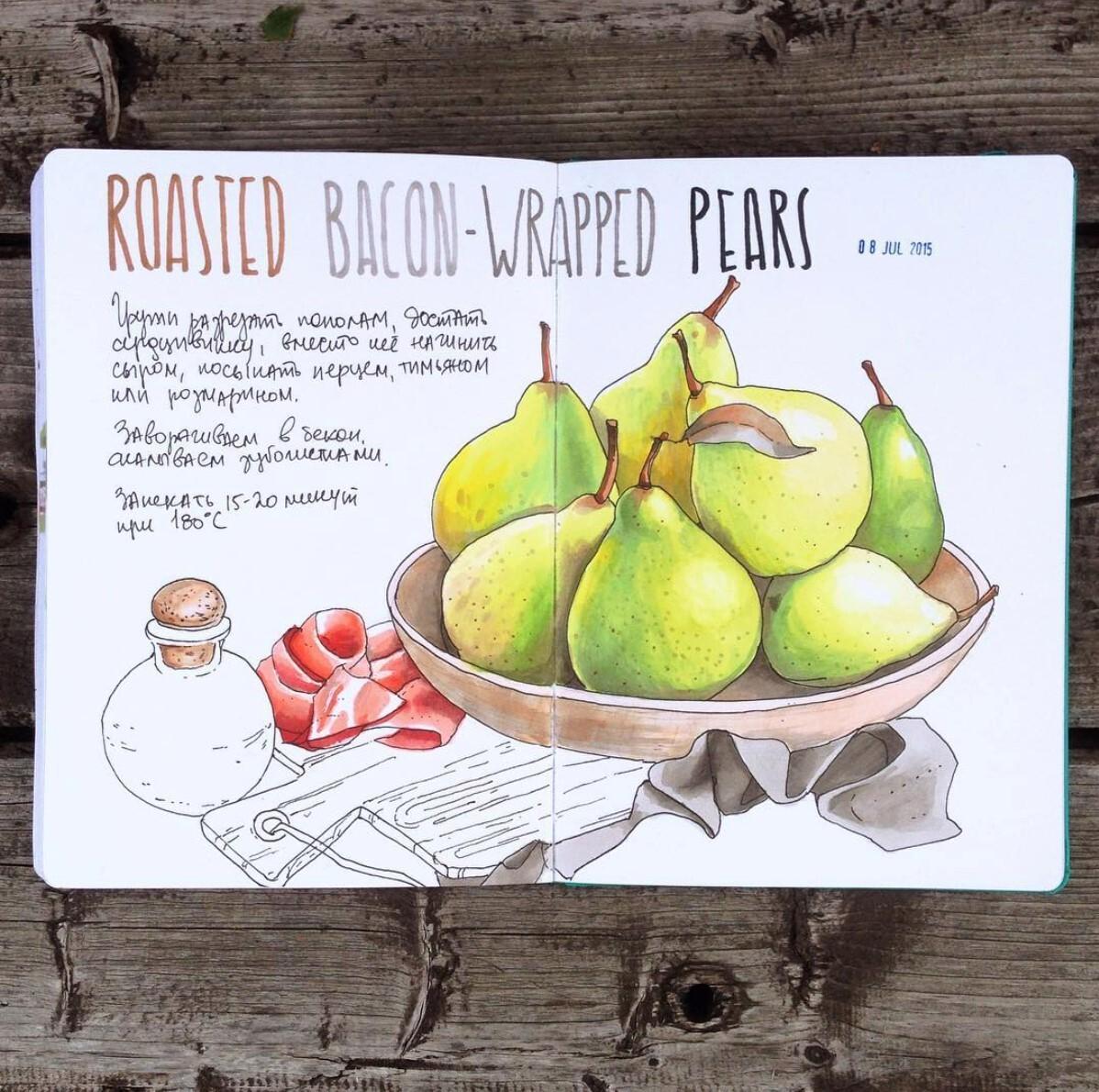 <p> В иллюстрации этого рецепта акцент сделан на груши, их форму и цвет. Бекон выступает дополнением:&nbsp;красный подчеркивает контрастом основной зеленый цвет. </p>